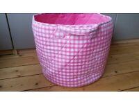 Jojo Maman Bebe large pink gingham fabric storage bucket