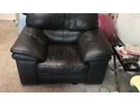 FREE Brown three seater sofa and two single chairs