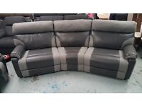 Ex-Display ScS Ralph Grey 4 Seater Curved Electric Recliner Sofa with USB Ports **CAN DELIVER**
