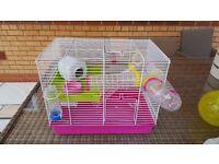Hamster cage wheel tubes food bedding wire run pink