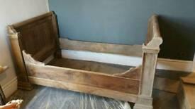 Antique oak sligh bed small double