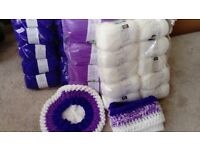 1 BOX OF PURPLE KNITTING YARN FROM BOURNVILLE