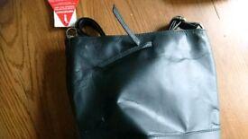 New black leather handbags/ Duffle style