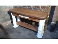 Chunky Solid Pine Farmhouse / Turned Leg Console Table - Beautifully finished