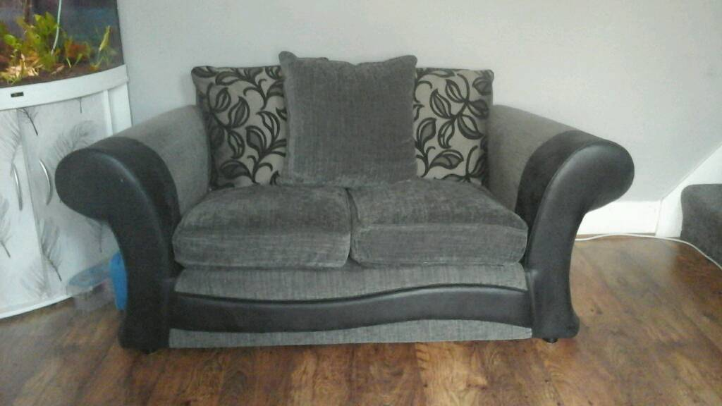 Black and grey 2 seater sofa