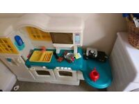 Kids vintage kitchen with play food and accessories