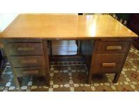 Large Vintage Mid Century Solid Golden Oak Double Pedestal Desk