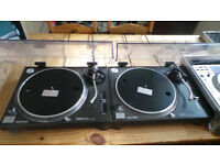 Technics 1210's MK2 along with Blue Ortofon Concorde Needles and a Denon DNS 3500 CD Deck