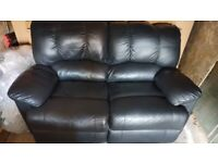 Black Leather Recliner Sofa And 1 chair