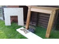 Complete Fire Surround (Pine) Grate and Gas Fire - Used