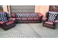 CHESTERFIELD SUITE BY CONNOLLY LEATHER EXCELLENT CONDITION!BARGAIN!