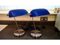 PAIR BLUE GLASS TILTING/RETRO STYLE READING LAMPS