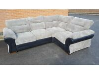 Fantastic BRAND NEW large black and grey cord corner sofa. can deliver