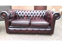 Chesterfield oxblood leather 2 seater sofa. EXCELLENT CONDITION THROUGHOUT! BARGAIN!