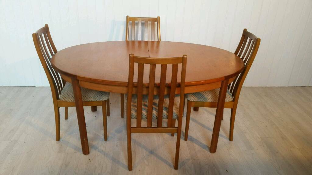 Vintage Oval Danish Teak Extendable Dining Table and Four Chairs by Portwood