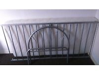 Single metal bed with memory foam mattress