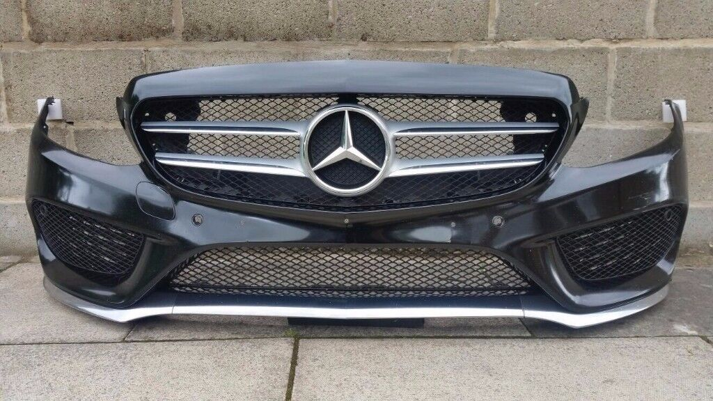 2016 MERCEDES W205 C CLASS AMG LINE - FRONT BUMPER & ALL GRILLS in BLACK