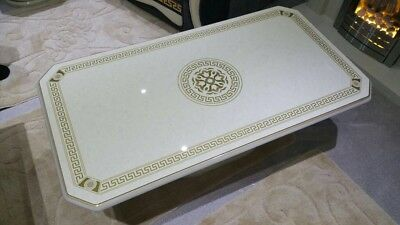 VERSACE GREAK KEY DESIGN ITALIAN COFFEE TABLE IN CREAM & GOLD