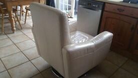 Cream leather swivel chair