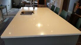 Silestone Kitchen island worktop with sink, tap and waste disposal unit