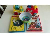 Baby bundle toys, dvds, bowl