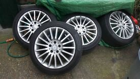"""Mercedes 17"""" alloy wheels x 4 with road legal Continental tyres."""