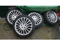 "Mercedes 17"" alloy wheels x 4 with road legal Continental tyres."