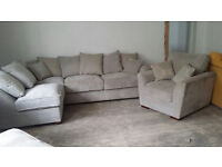 NEW Luxurious Grey Fabric Grand Corner Sofa Suite and Chair FREE Local Delivery