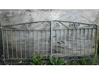 Galvanised steel driveway gates.