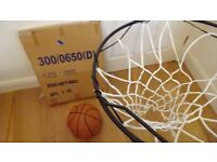 Basket ball: ring. net, ball with fittings, never been out of box