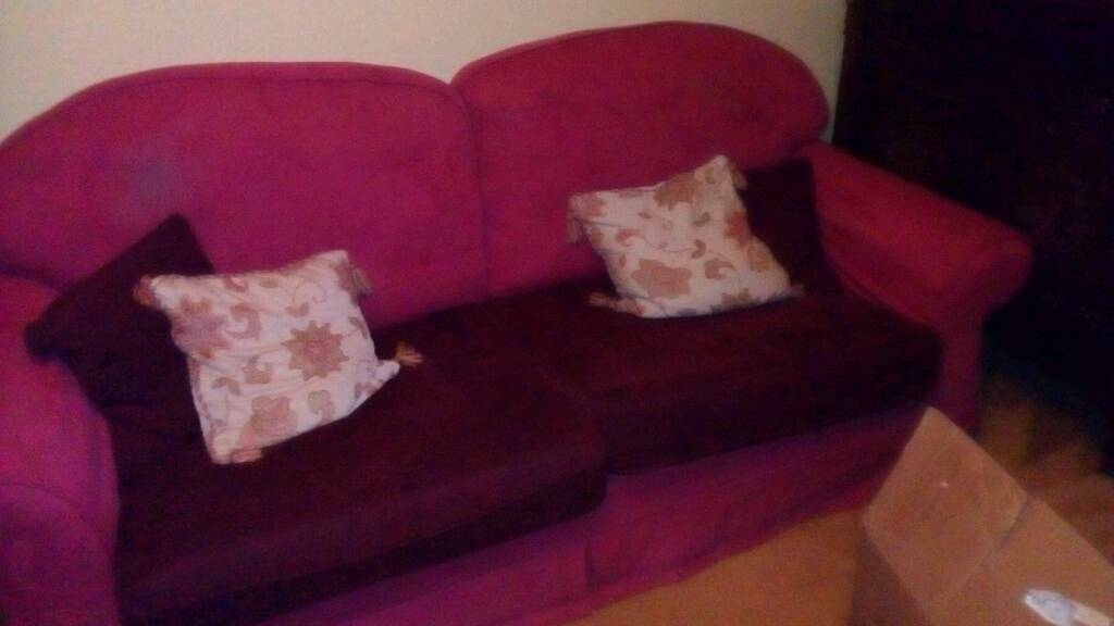 Three piece suite sofa and two chairs