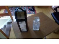 Glass Decanter and Wooden Wine Bottle Carrier / Case