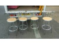 4 beech wood and chrome bar stools