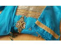 Asian Indian Pakistani wedding clothes dress suit Kameez trouser heavy embroidery stitched