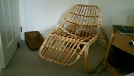 Ikea cane wooden lounger chair. Bamboo wood furniture