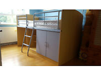Lovely kids bunk bed/cabin bed, single bed size with clean mattress