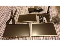 "Triple Monitor Stand & 3 x 23"" Dell Monitors & Creative Speakers."