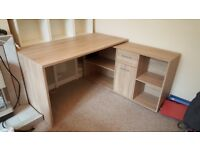 Corner desk with drawers and cupboard