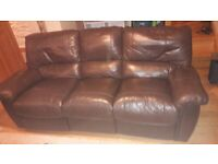 Two Leather Settees Sofas