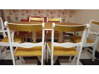 Gold and white dining table and 6 chairs