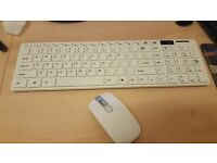 Slim White Wireless Keyboard and Cordless Optical Mouse Set