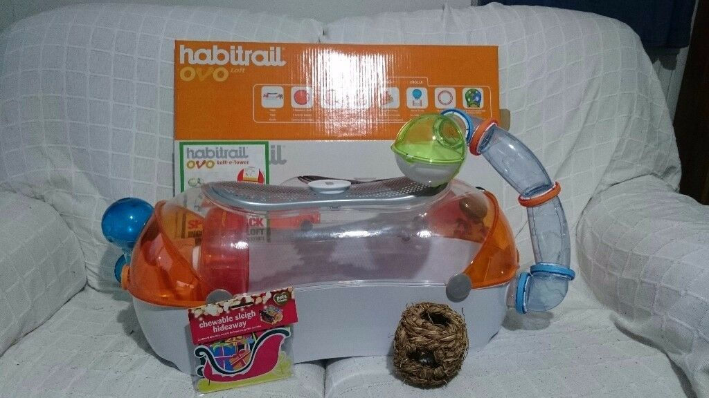 OVO HABITRAIL HAMSTER LOFT PLUS EXTRA TOWER AND BED, VERY GOOD CONDITION