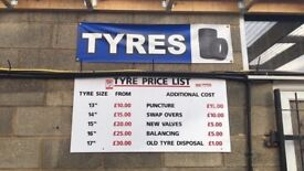 Part worn tyres with fitting