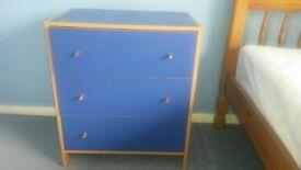 Ikea children's chest of draws, 3 draws, blue with wood trim, 60cm(w) 37cm(d) 70cm(h), 12yrs old