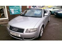 CONVERTIBLE 2003 AUDI A4 1.8 T SPORT S LINE SILVER NEW MOT BLUE ROOF HEATED LEATHER ALLOYS E/W E/M +