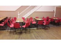 110 + Red Stackable Chairs