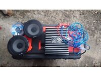 Bass Face 16cm car speakers and Amp (Car Audio)