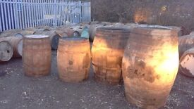 Solid oak whisky barrels just emptied
