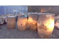 Solid oak whisky barrels just emptied