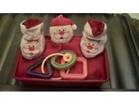 BABY'S CHRISTMAS HAMPER GIFT **COMES CELLOPHANE WRAPPED WITH BOW AND RIBBON**